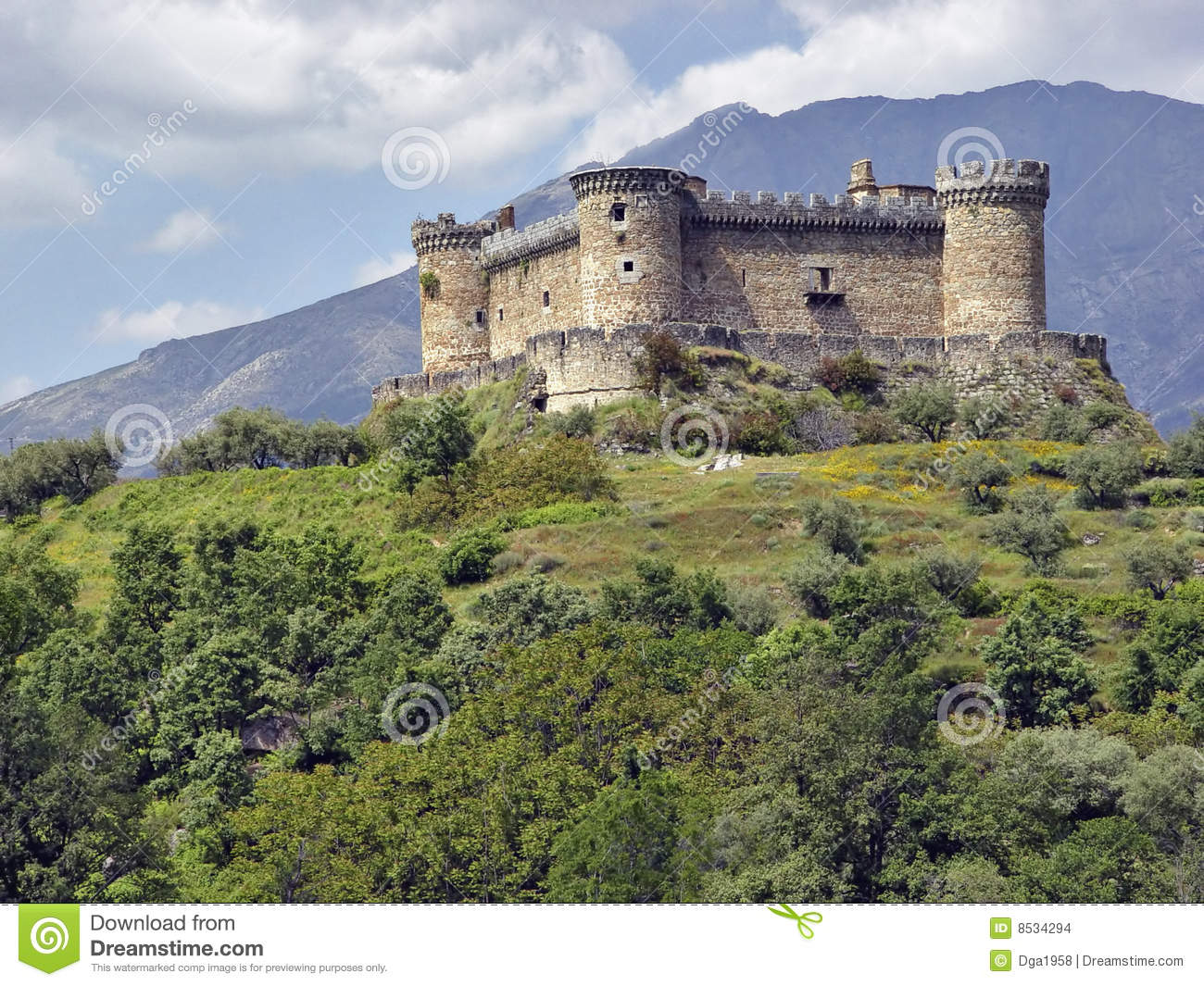Castle Mombeltran Mountain Range Of Gredos Spain Stock