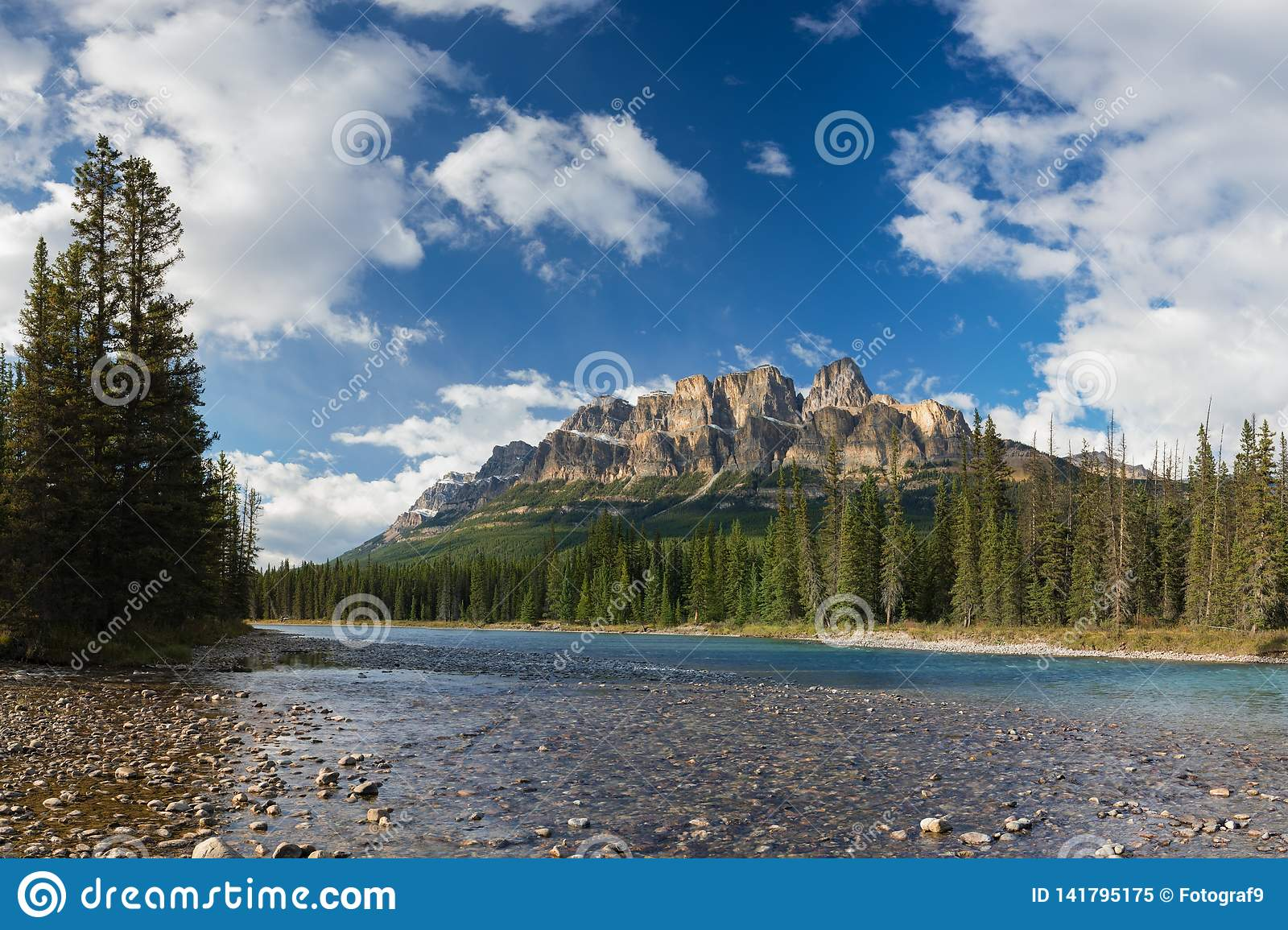 Castle Mountain in Banff National Park, Canada Bow valley under the surveillance of mighty Rocky Mountains. Beautiful summer scene