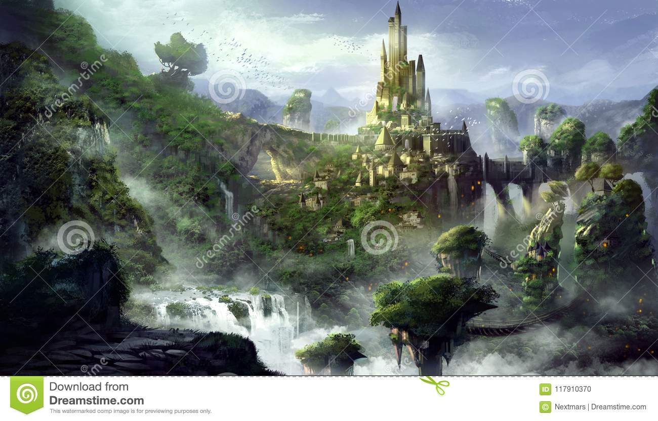 Castle Mountain With Fantastic Realistic And Futuristic Style Games Digital Cg Artwork Concept Il Ration Realistic Cartoon Style Scene Design