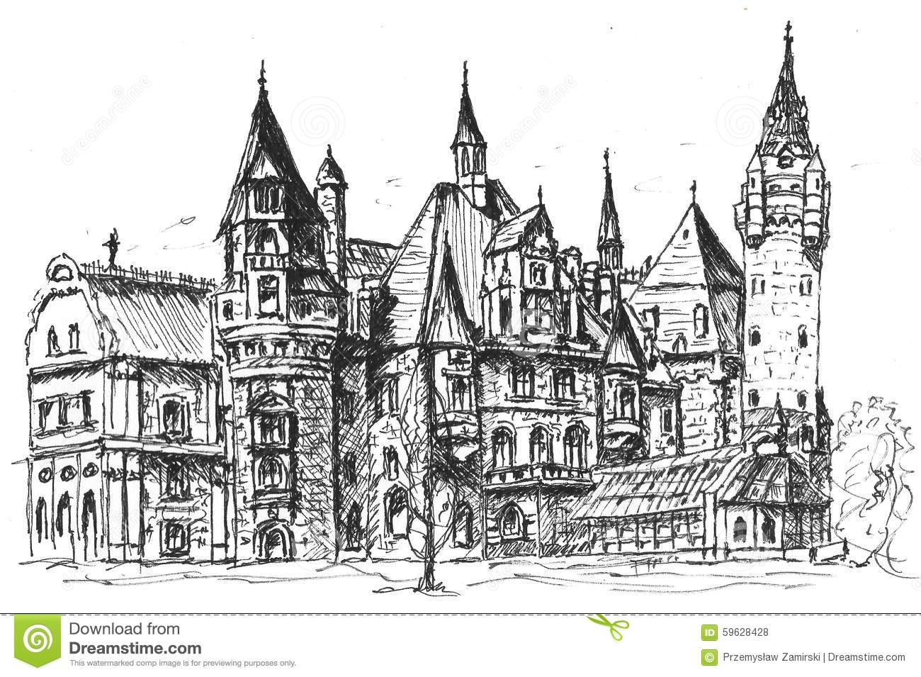 Castle Sketch stock illustration. Illustration of cultures ...