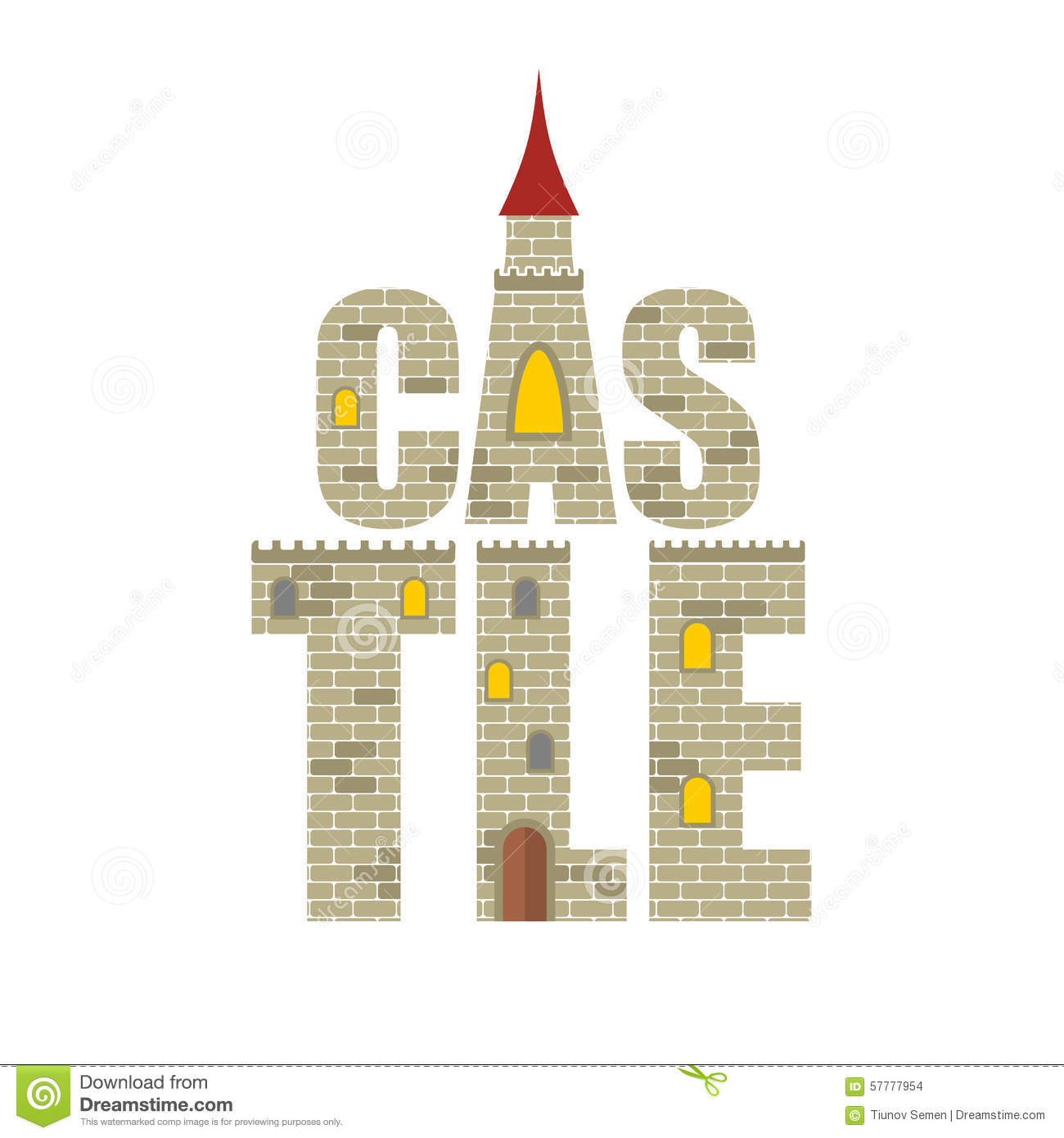 Old Brick Wall Texture Seamless Castle With Red Tower....