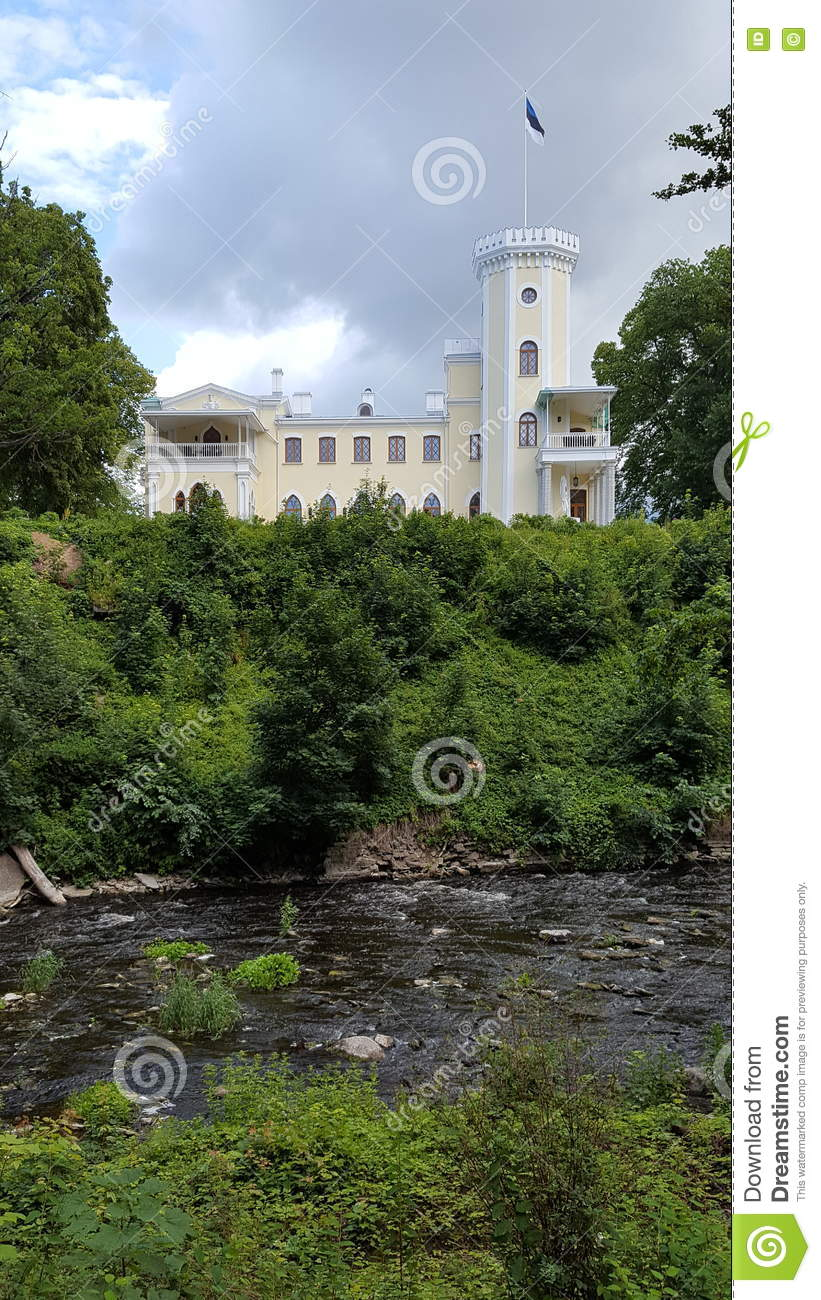 Download Castle on the river bank stock image. Image of white - 75302969