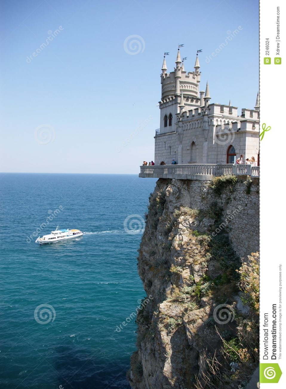 Castle Rock Ship And Sea Stock Photo Image Of