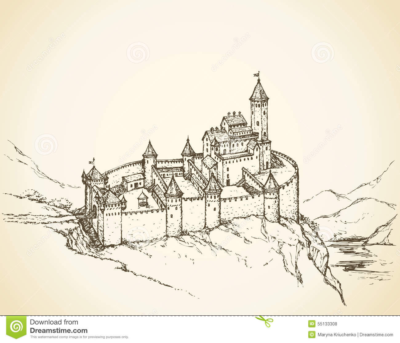 Castle Romanesque Style. Vector Drawing Stock Vector