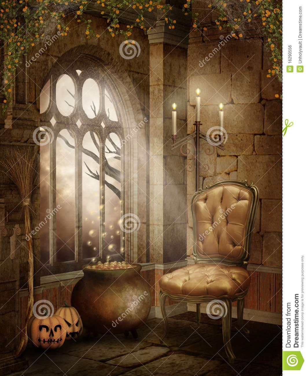 Castle room with halloween decorations stock illustration illustration of fantasy chair 16290556 - Castle room decore ...