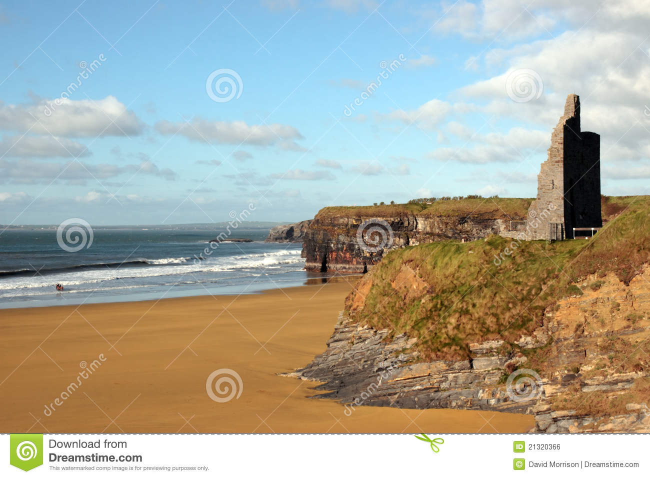 Download Castle Ruins On Cliffs Above Beautiful Beach Stock Photo - Image of beach, castle: 21320366