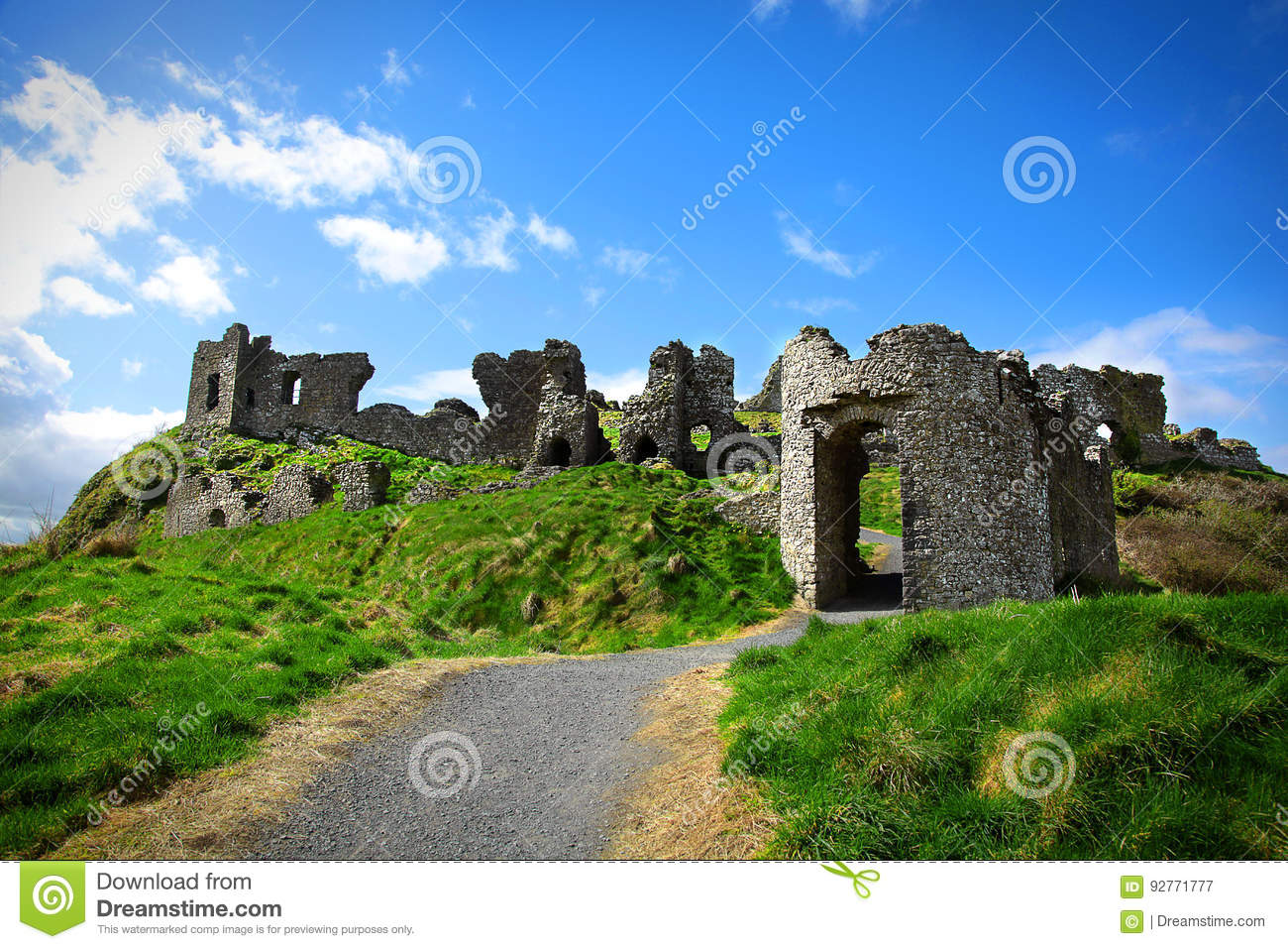 Castle ruins of the Rock of Dunamase in Ireland