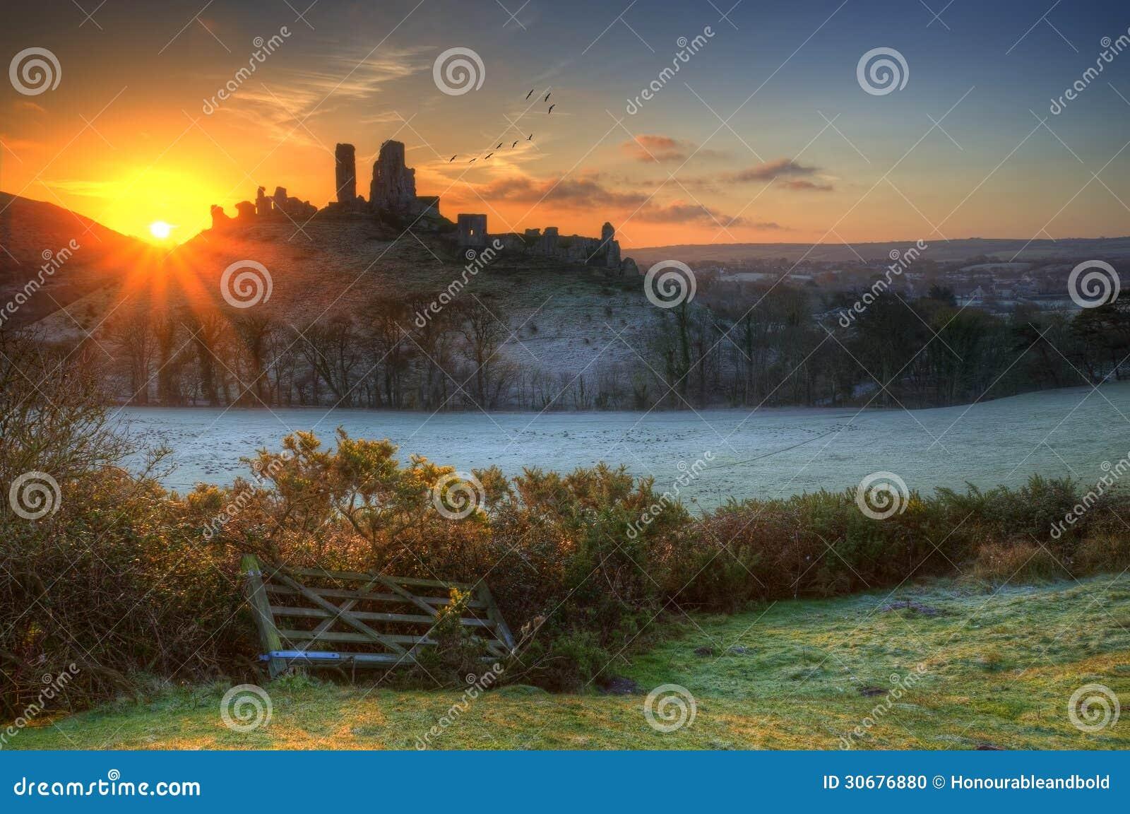 Castle ruins Winter sunrise.