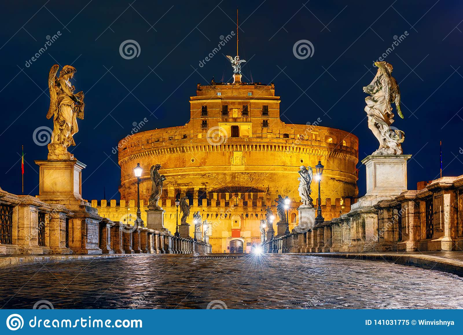 Castle Sant Angelo and bridge at night in Rome, Italy