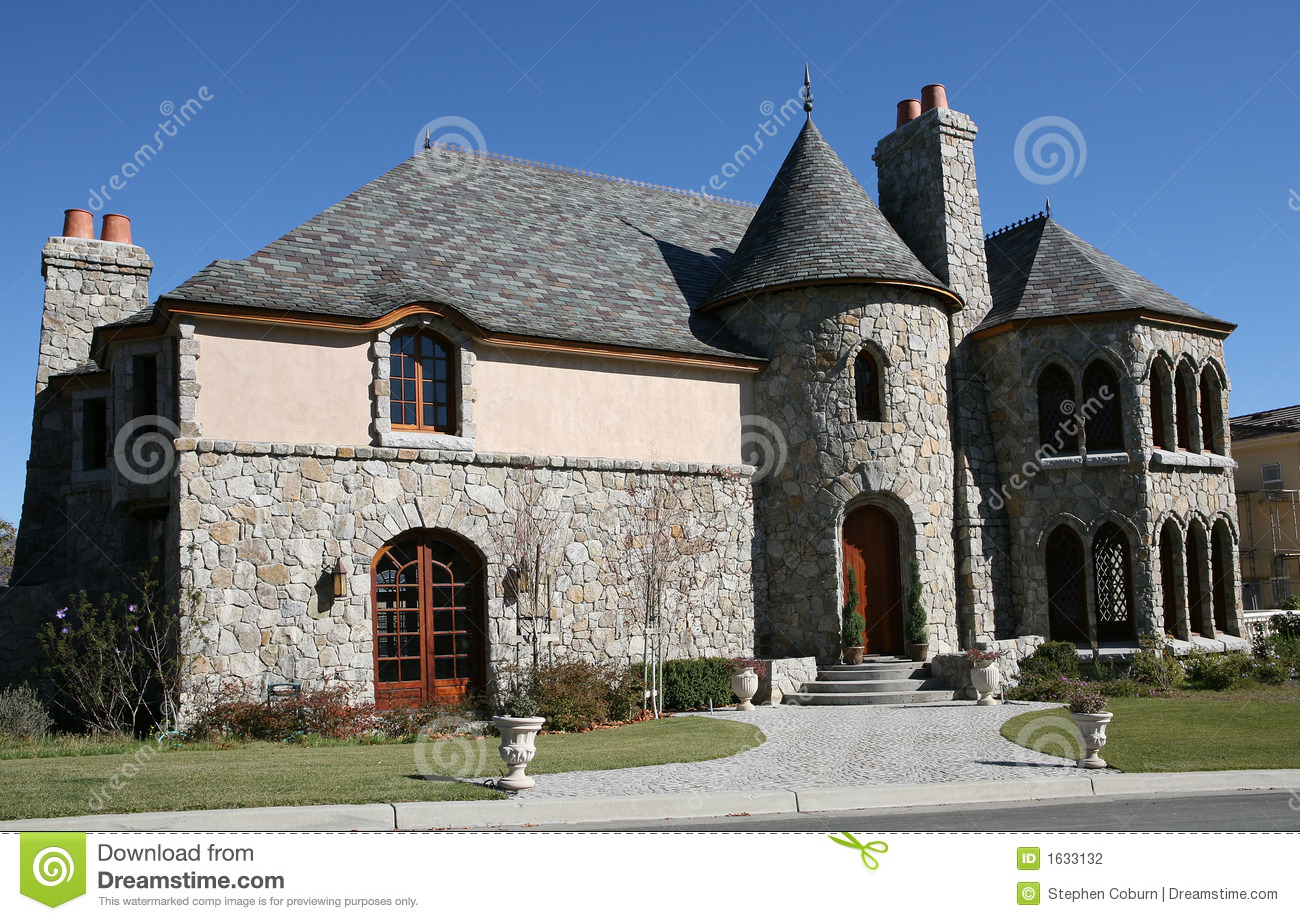 Castle style home stock photo image of green expensive for Castle style homes
