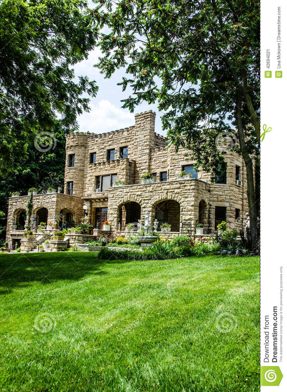 Castle Style Stone Old Home Mansion Stock Photo Image