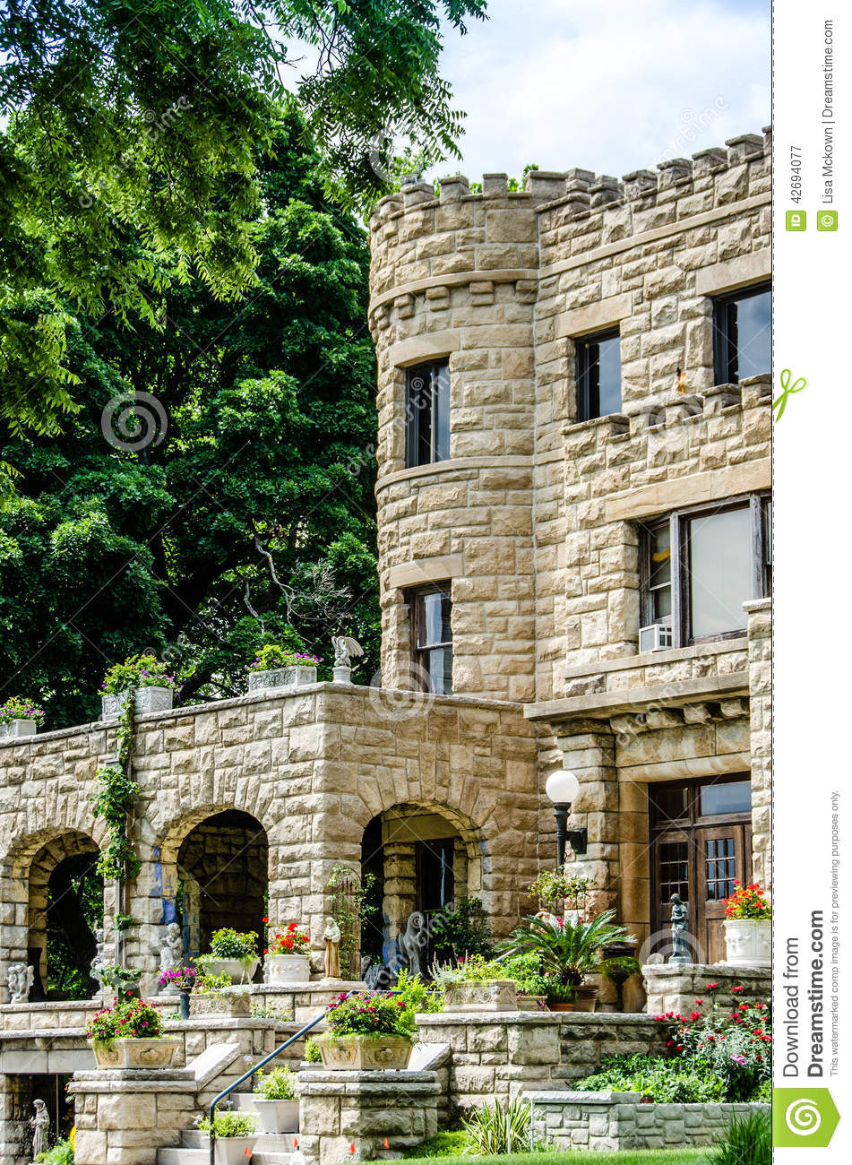 Castle style stone old home mansion stock image image for Castle style homes