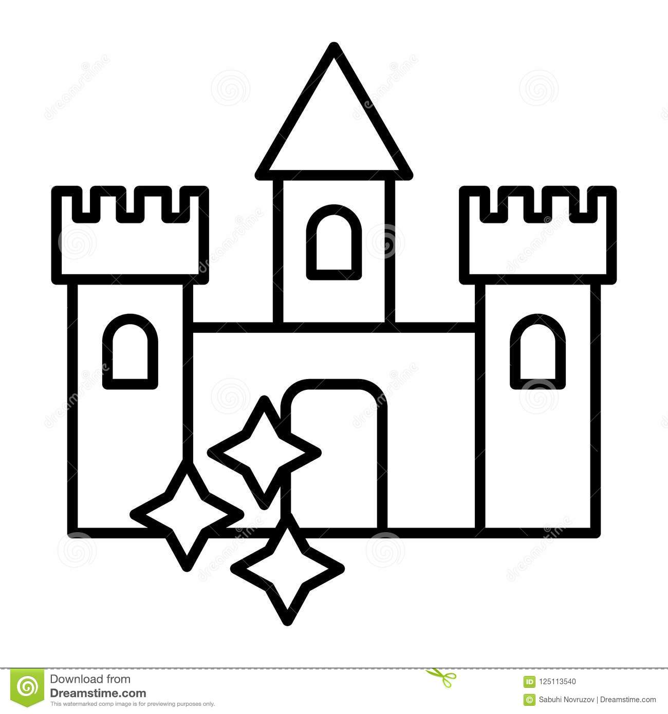Castle Thin Line Icon Medieval Castle With Stars Vector