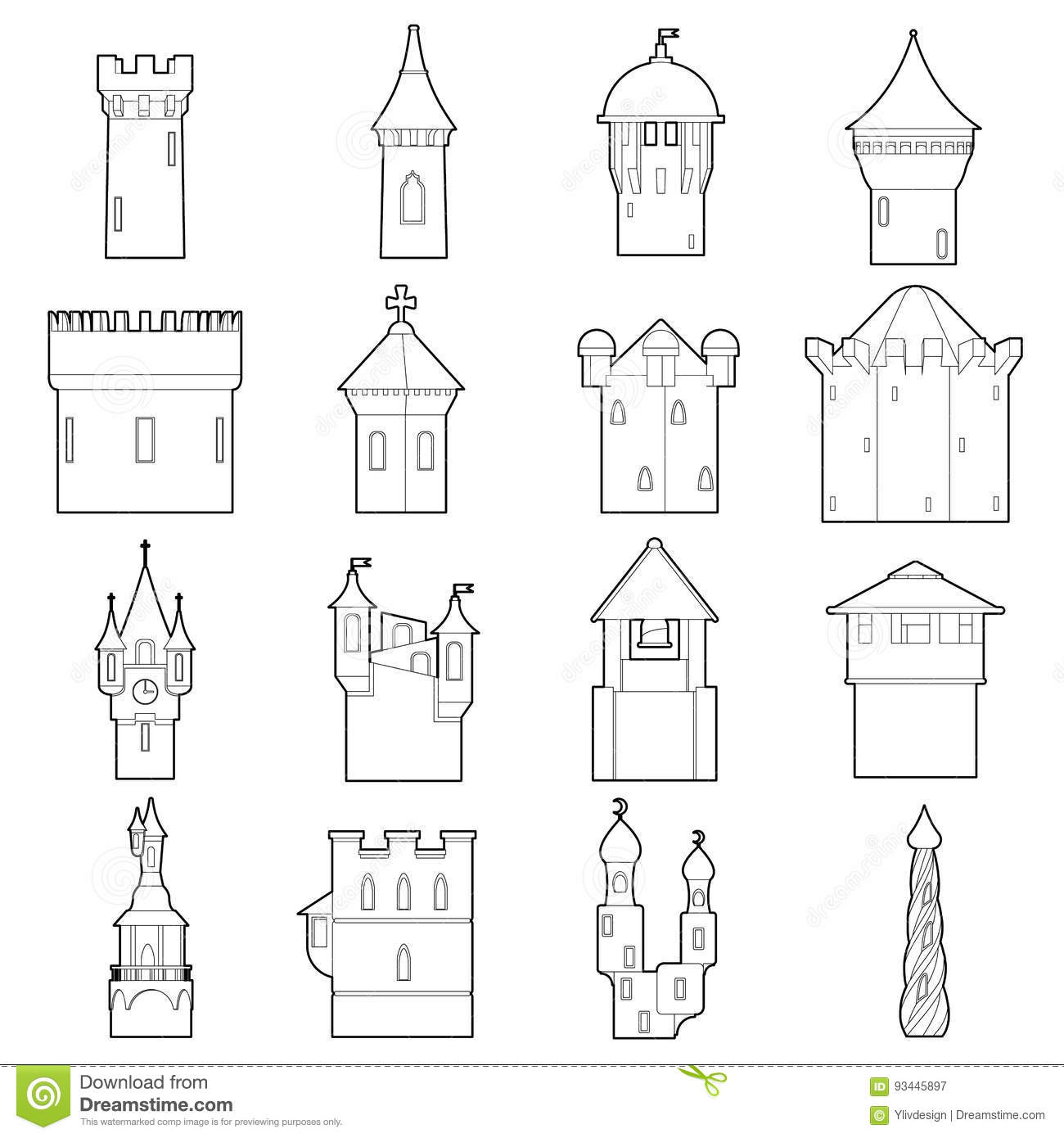 castle tower icons set color outline style illustration vector web 93445897 castle tower icons set color, outline style stock vector