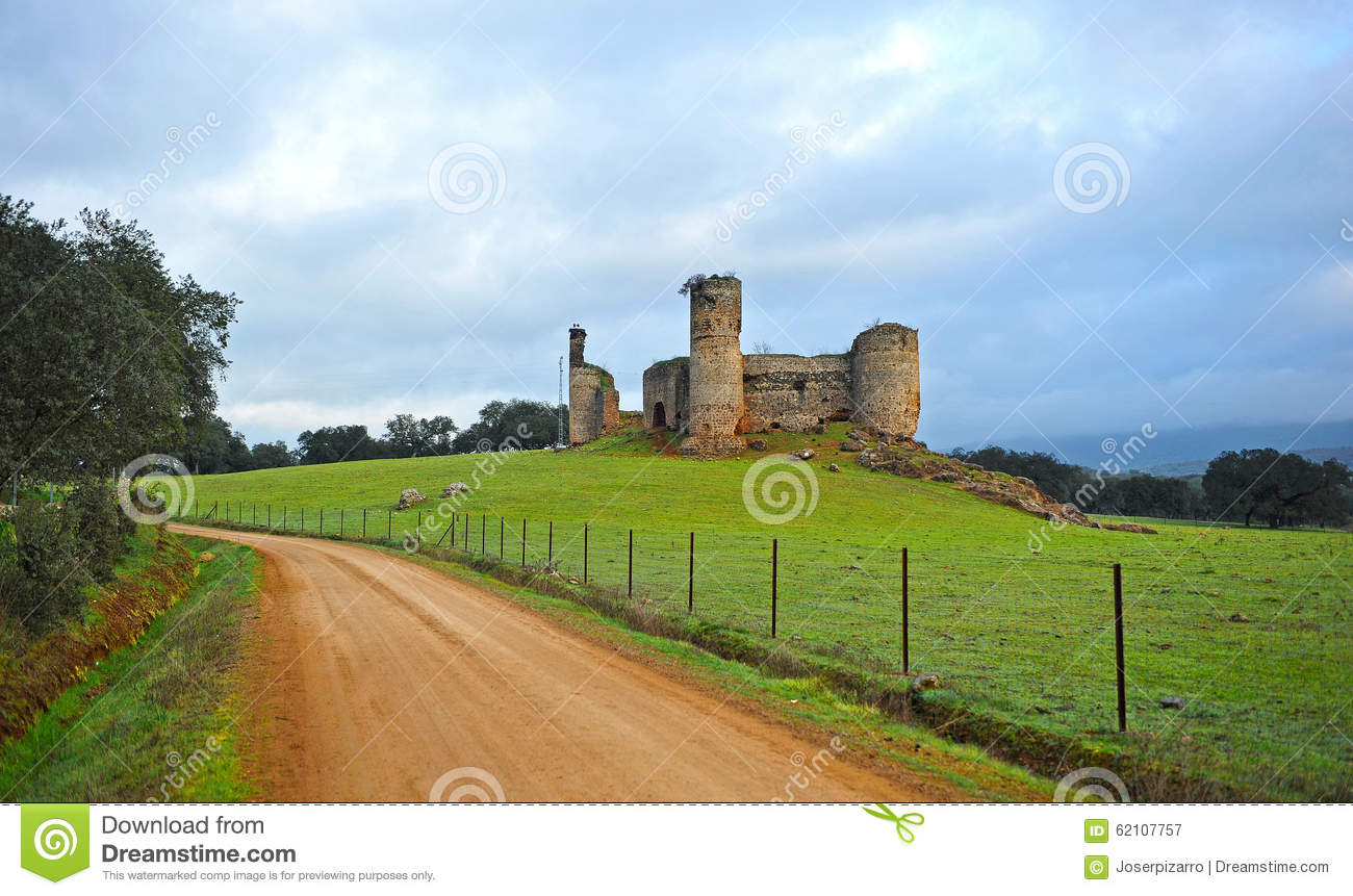 Castle Of The Towers Via De La Plata Real De La Jara Spain Stock