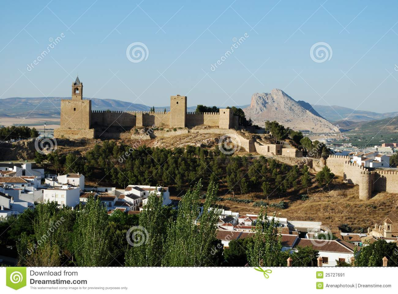 Castle And Town Antequera Spain Stock Image Image 25727691