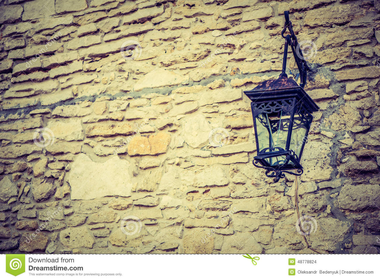Castle wall with lntern stock photo. Image of decoration - 48778824