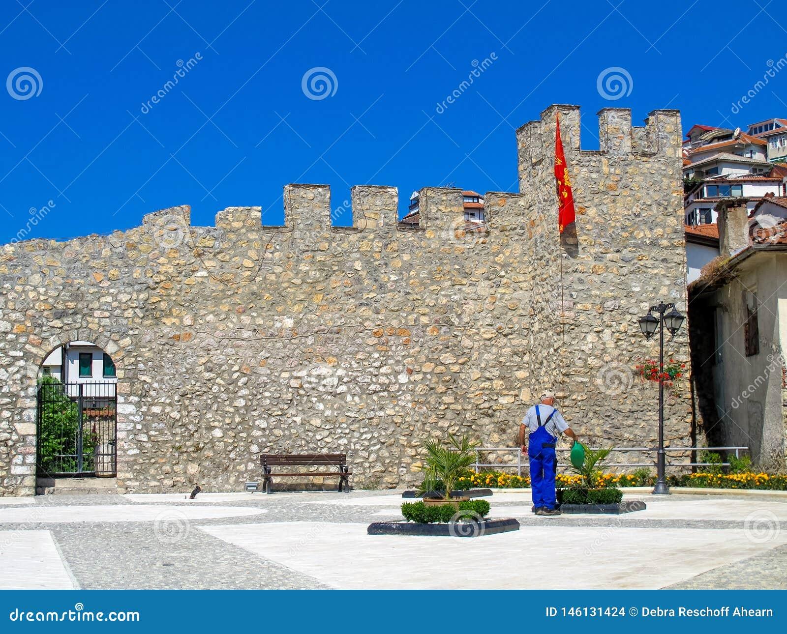 Castle wall Ohrid Macedonia