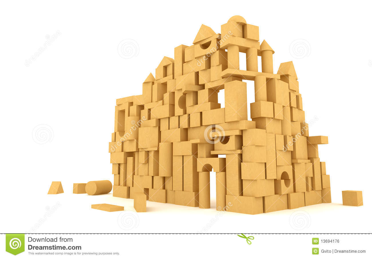 The Castle Of The Wooden Cubes Royalty Free Stock Image - Image ...