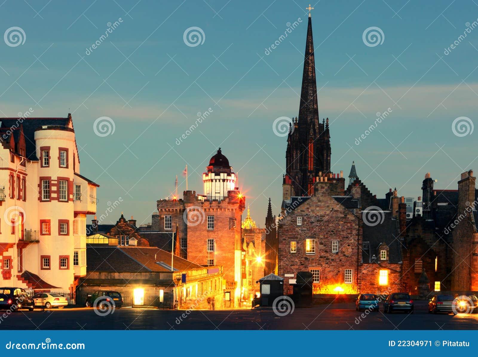 Castlehill - bovenkant van de Koninklijke Mijl van Edinburgh.