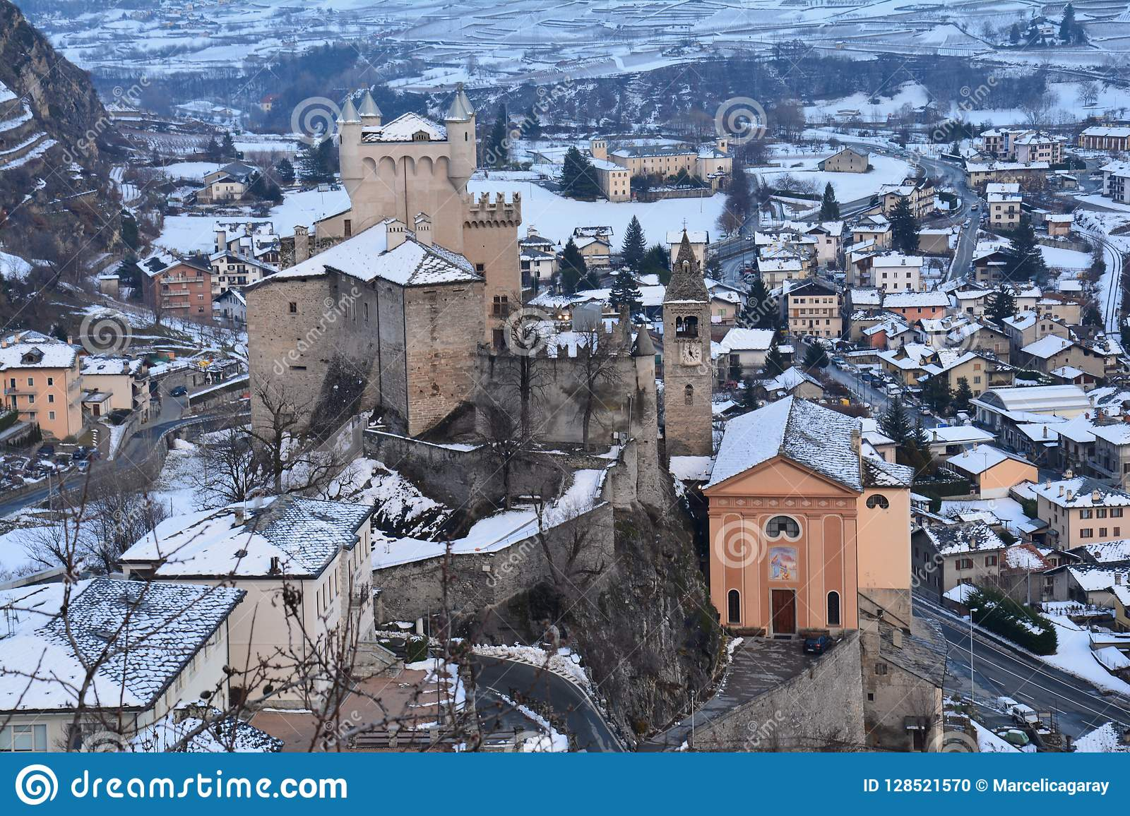 Castles of the Aoste Valley in Italy in Winter