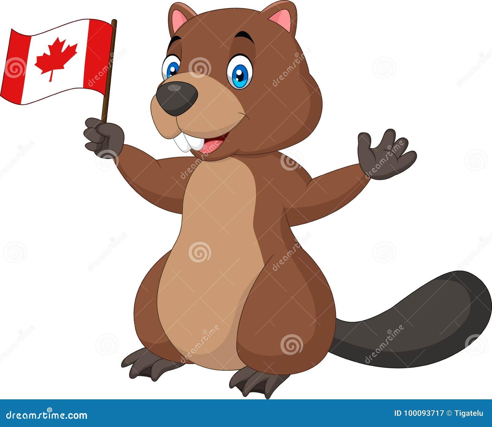 Castor de la historieta que sostiene la bandera canadiense