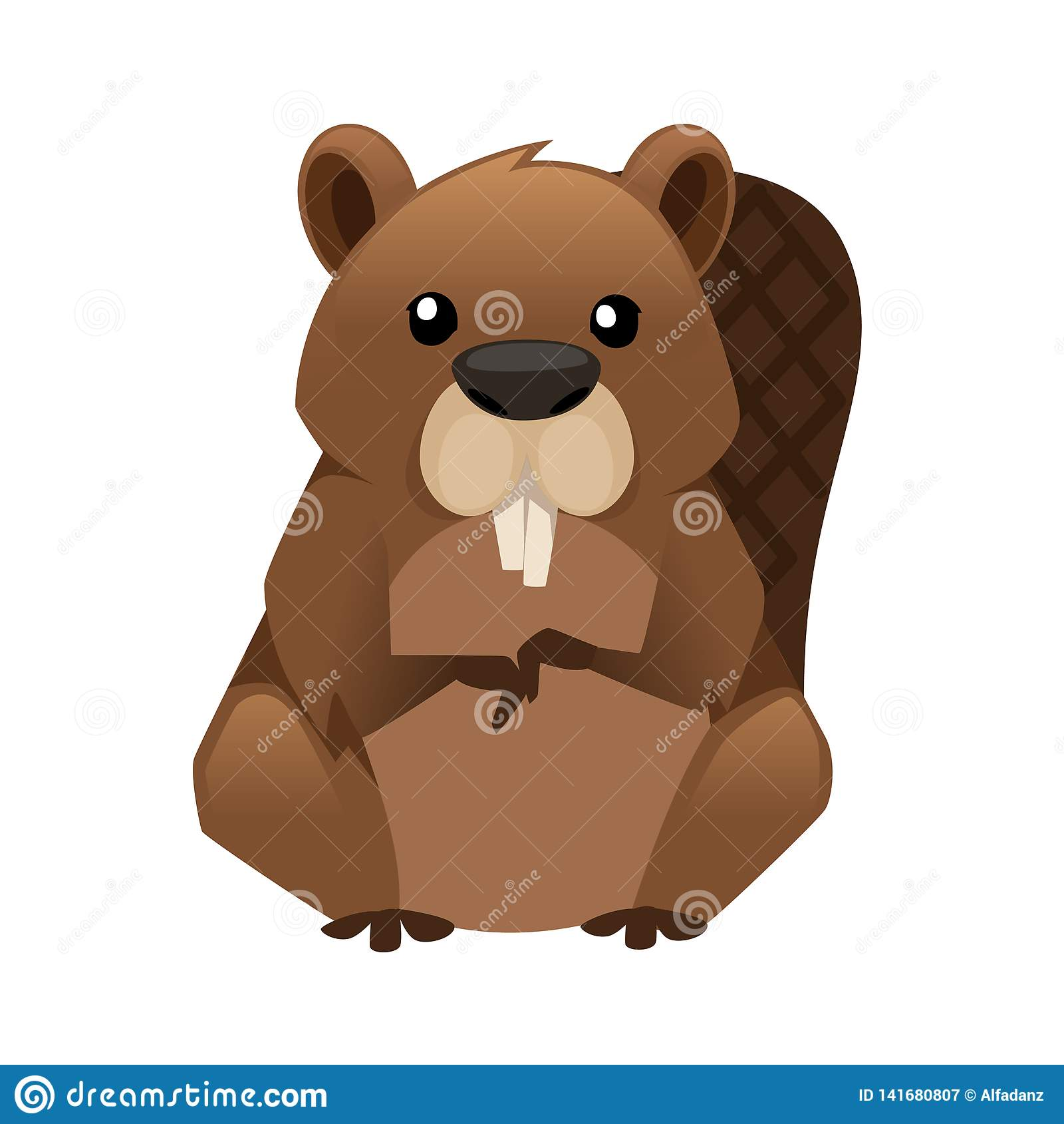 Castor lindo de Brown Dise?o animal de la historieta Ejemplo plano aislado en el fondo blanco Habitante del bosque Animal salvaje