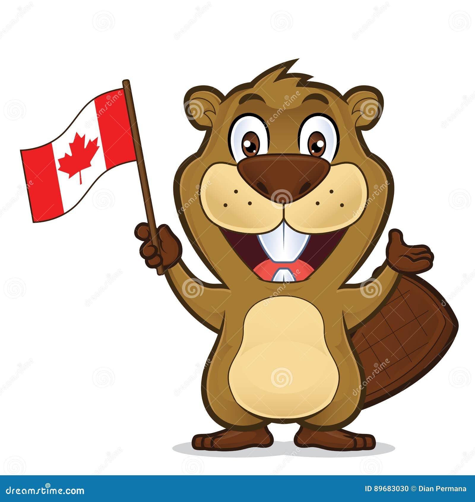 Castor que sostiene la bandera canadiense
