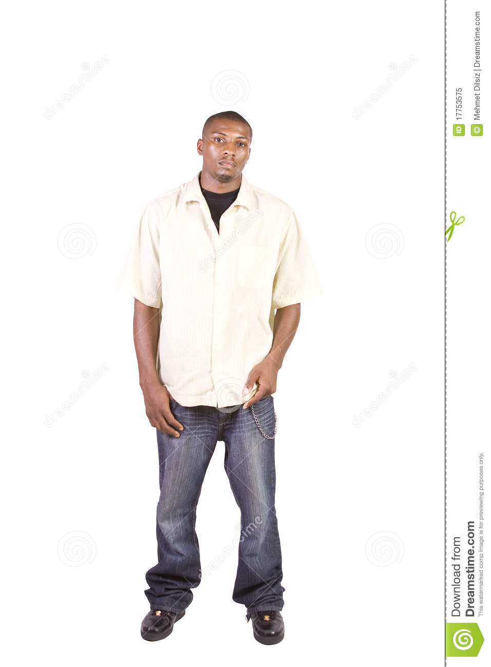Casua Black Man Posing While Standing Stock Image - Image ...
