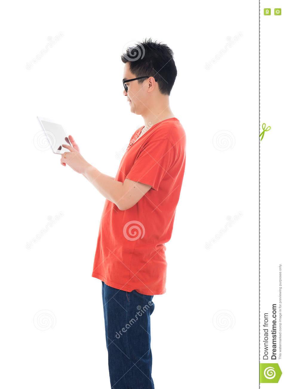 Casual asian male with tablet
