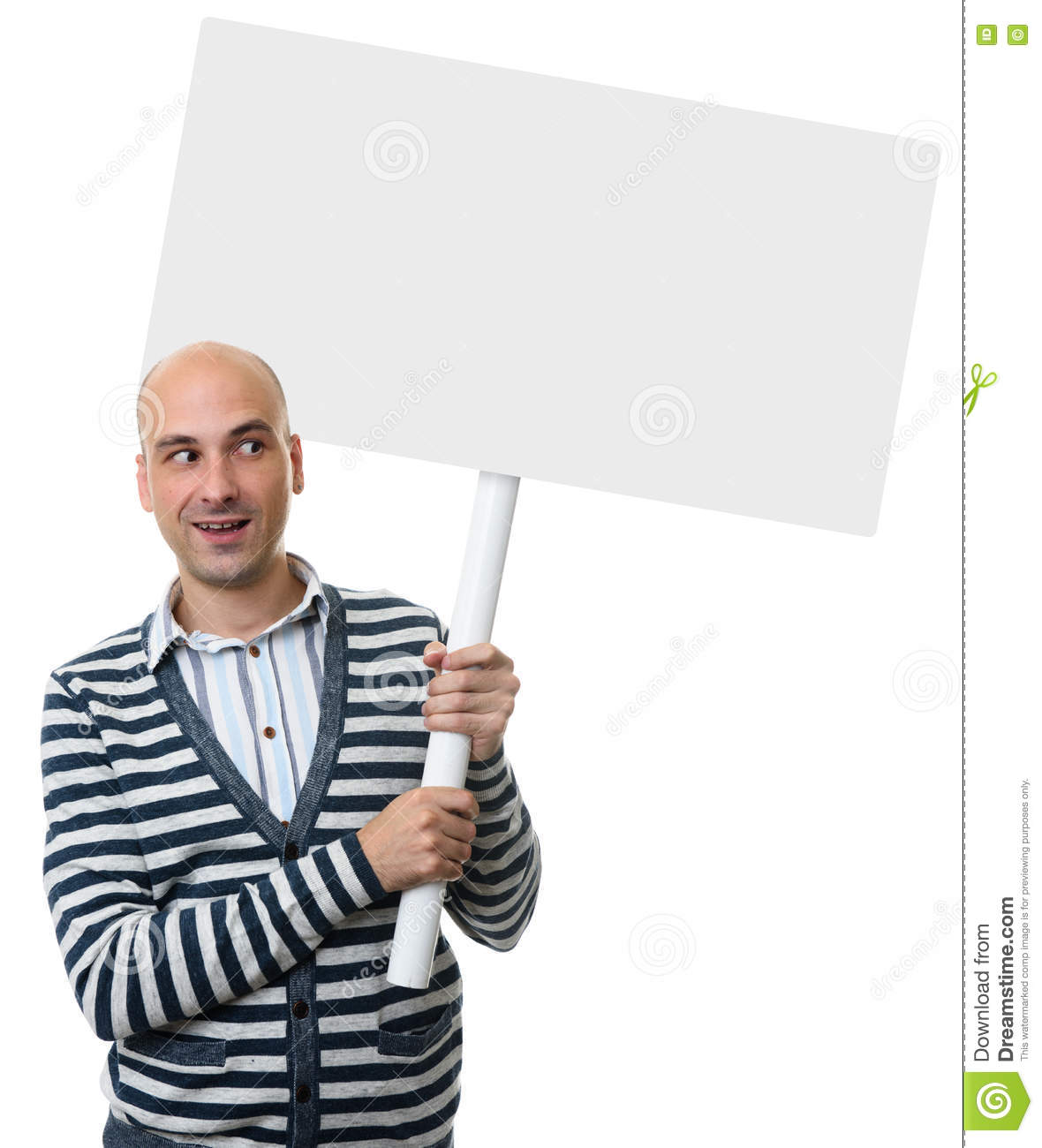 Casual Bald Man Holding Placard On A Stick Stock Photo