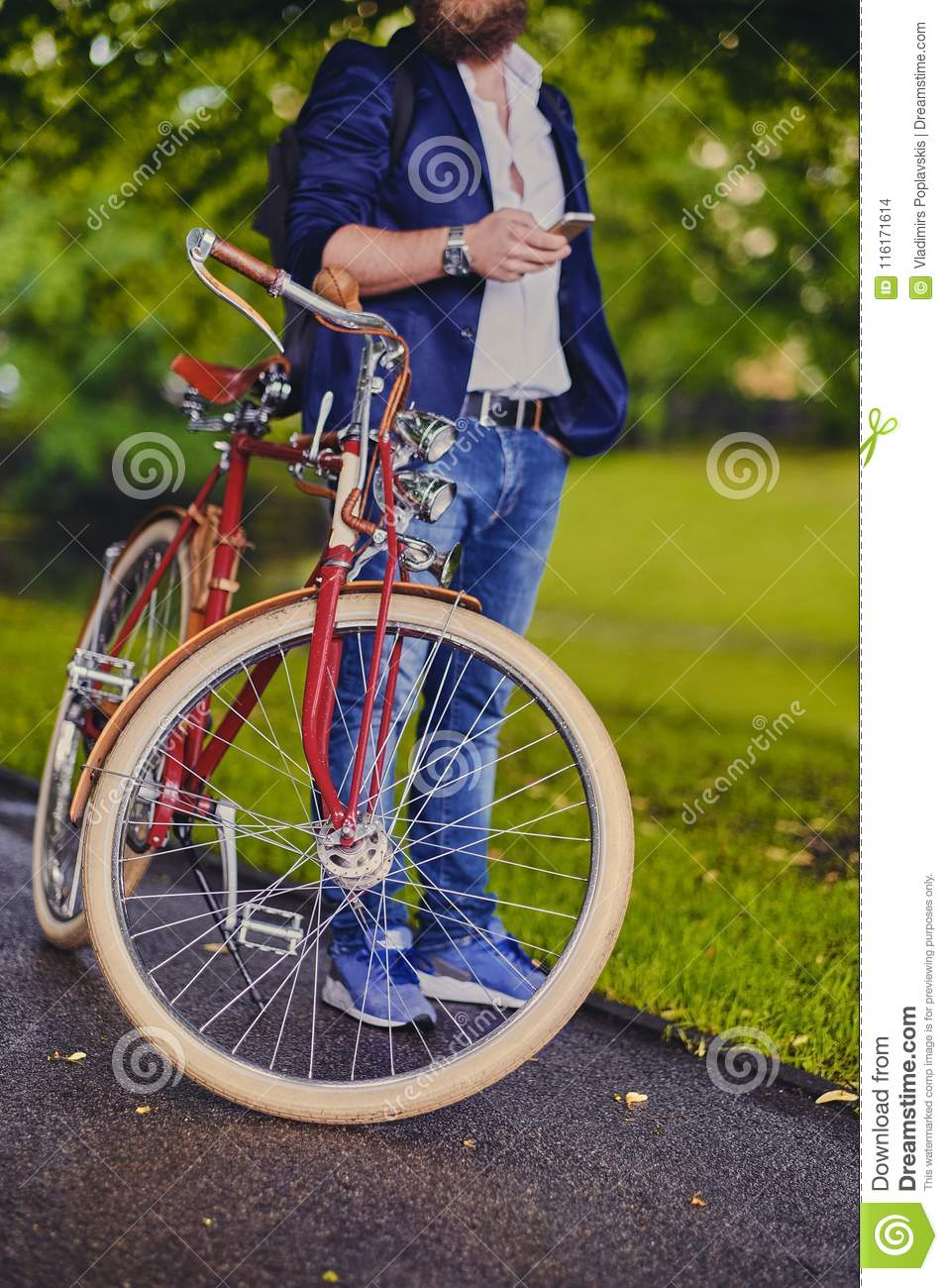 Image of a man on a retro bicycle.