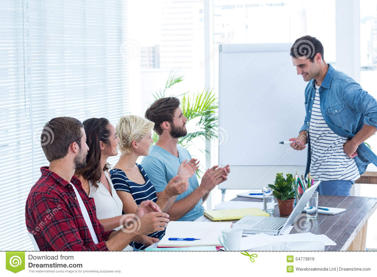 Casual Business People Clapping Hands In Meeting Stock Photo Image