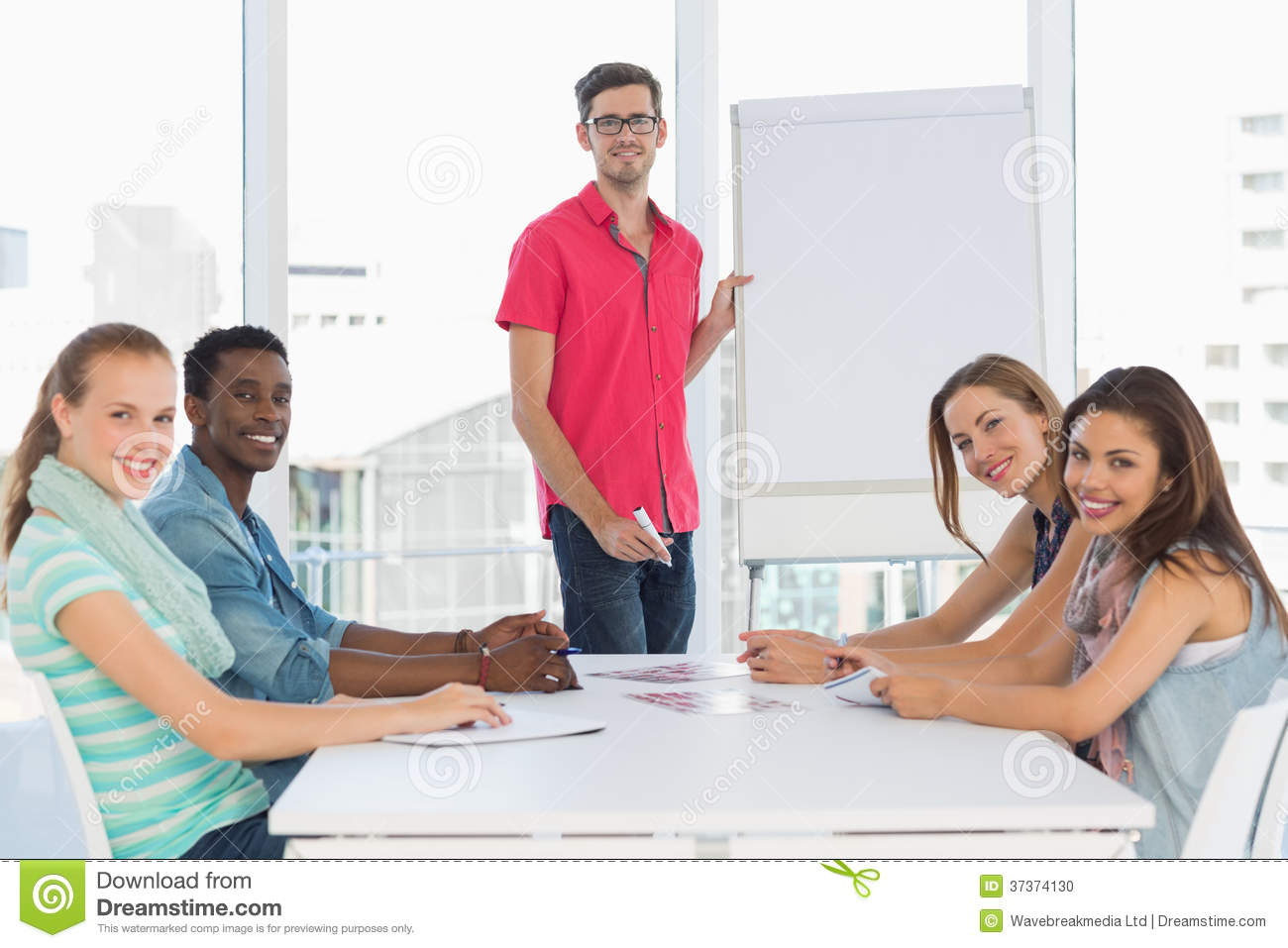 Casual Business People In Office At Presentation Stock ...  |Relaxed Business Person