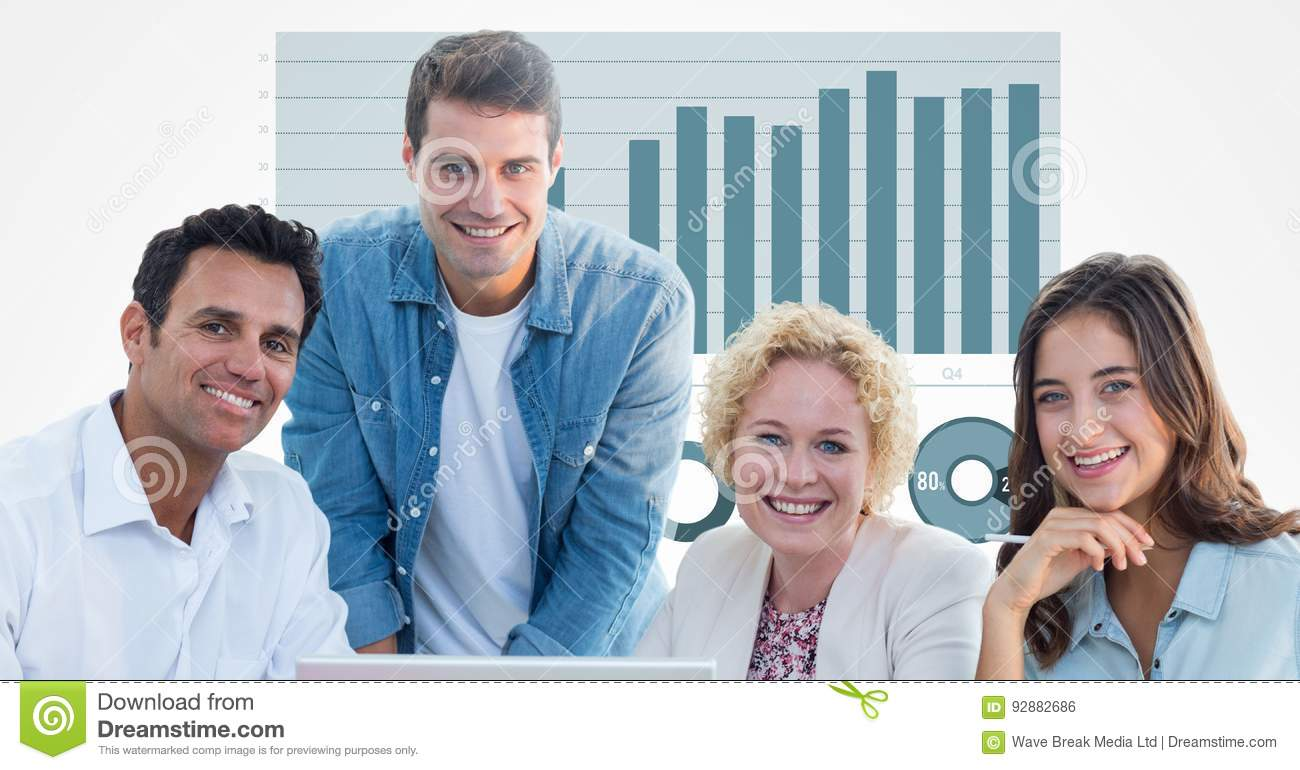 Casual business people smiling against graph