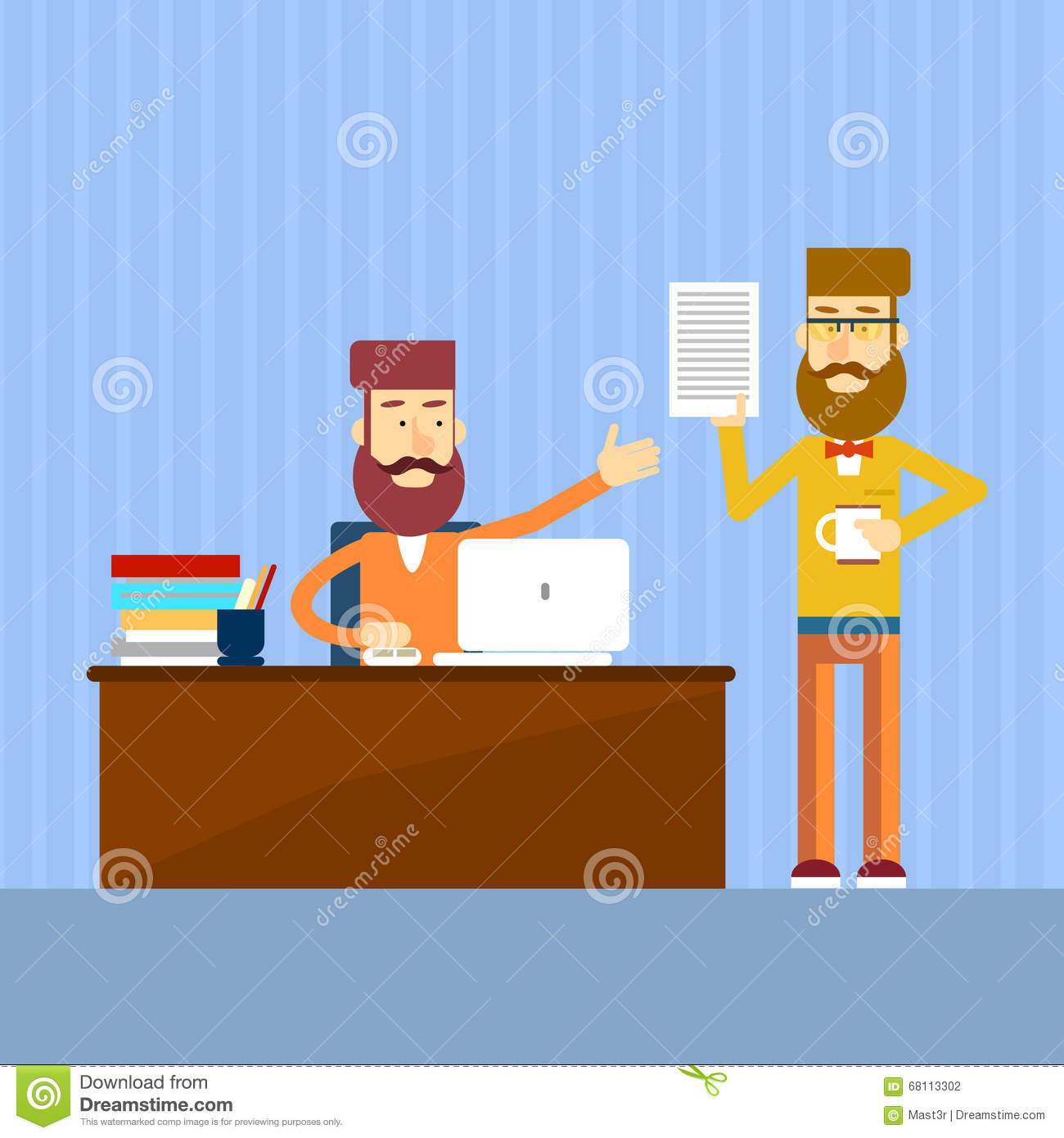 Casual Businessman Sitting Office Desk Give Document Report