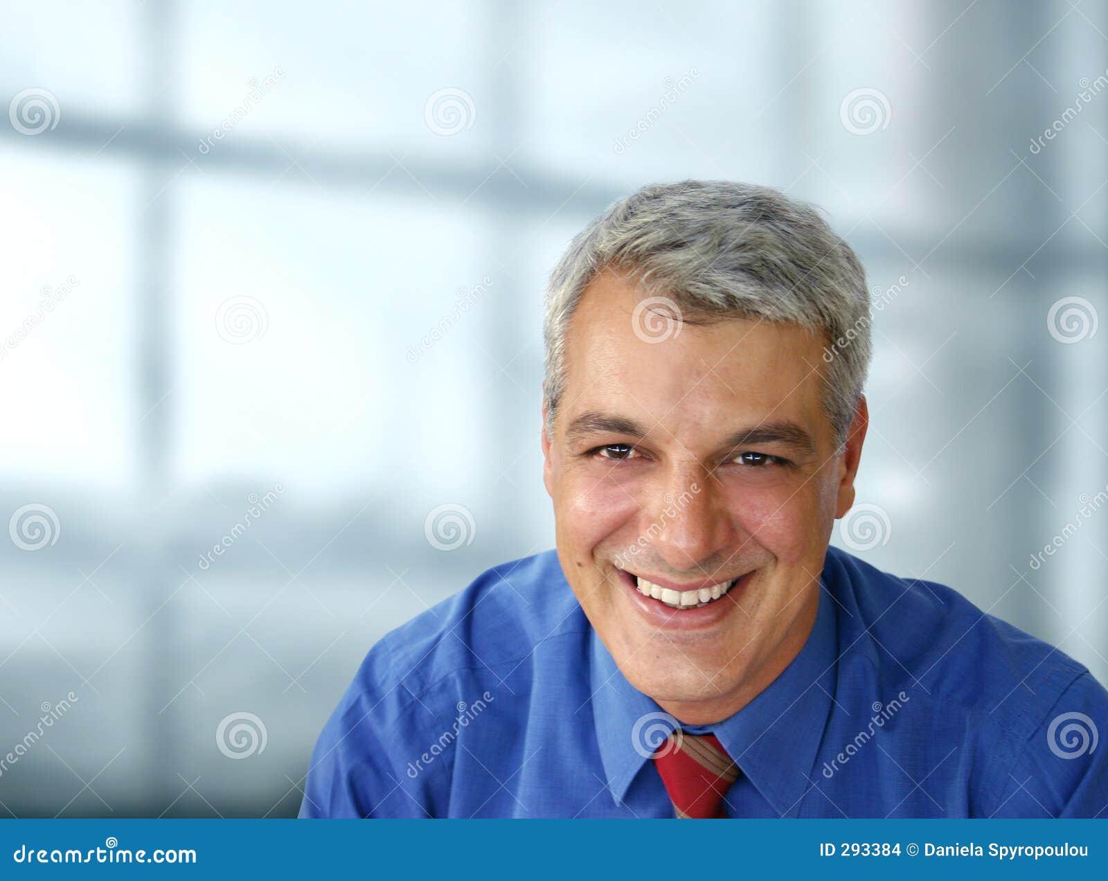 Casual businessman smiling