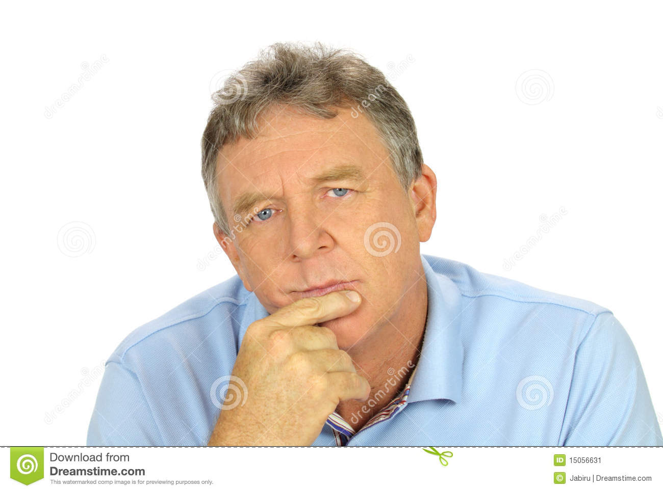 Casual Concerned Man stock image. Image of introspective ...