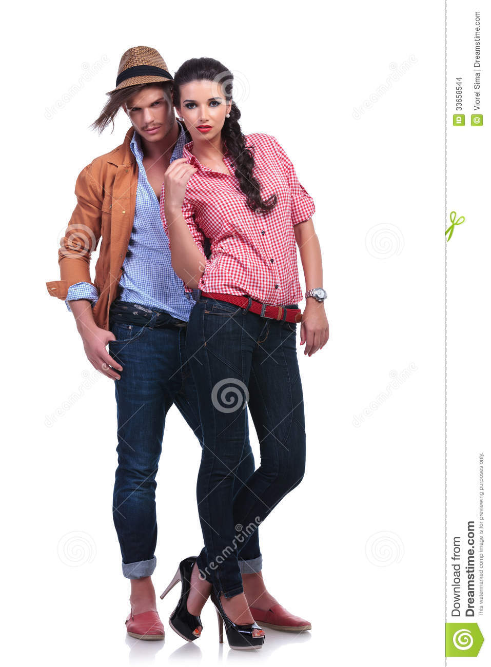 Understand casual teen couple standing certainly right