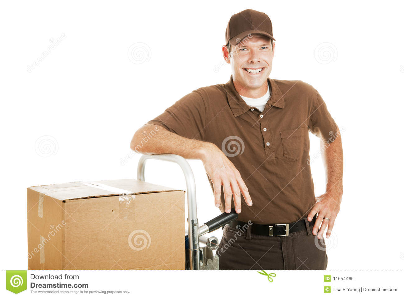 casual delivery guy or mover stock photo
