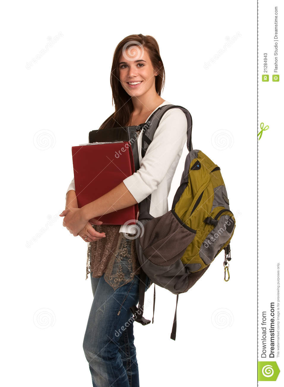 Casual Dressed High School Student Holding Books Stock ... Happy High School Student Clipart