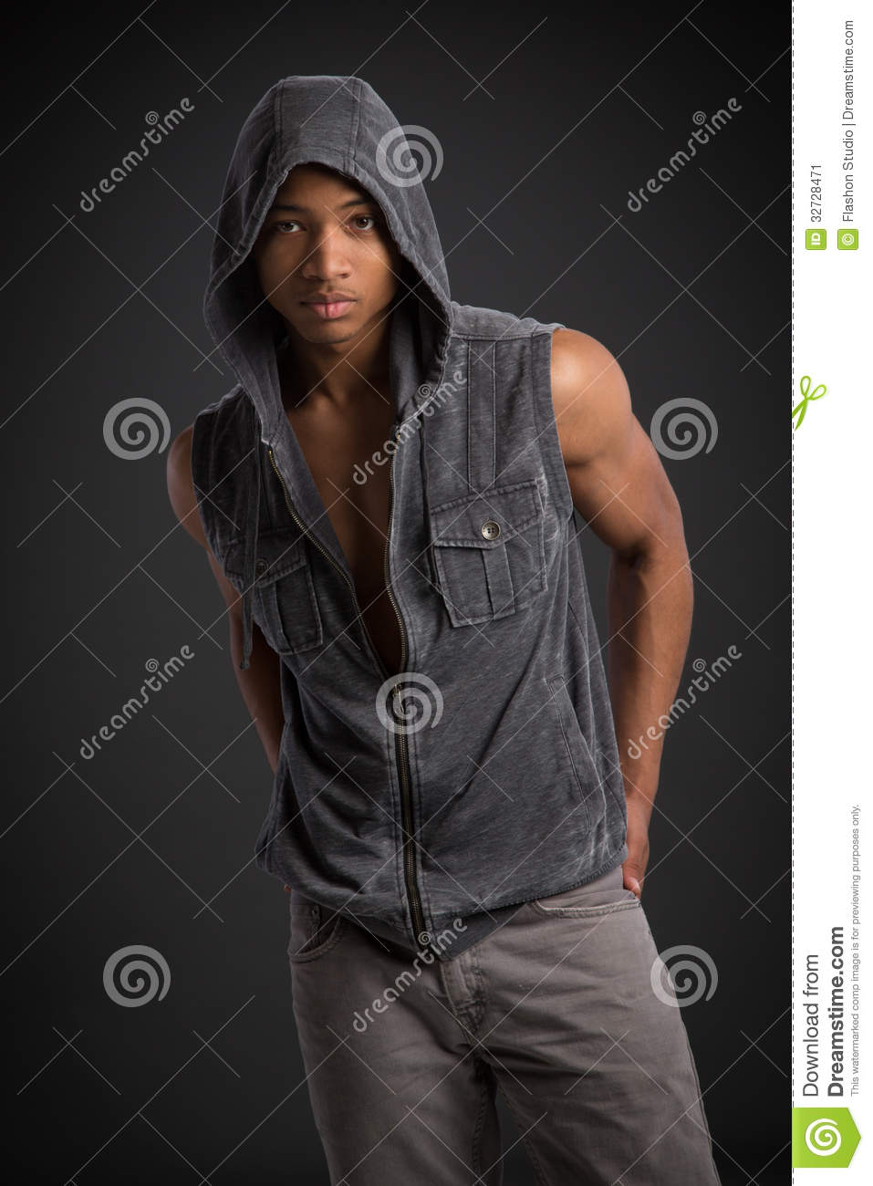 Casual Dressed Young African American Male Fashion Model