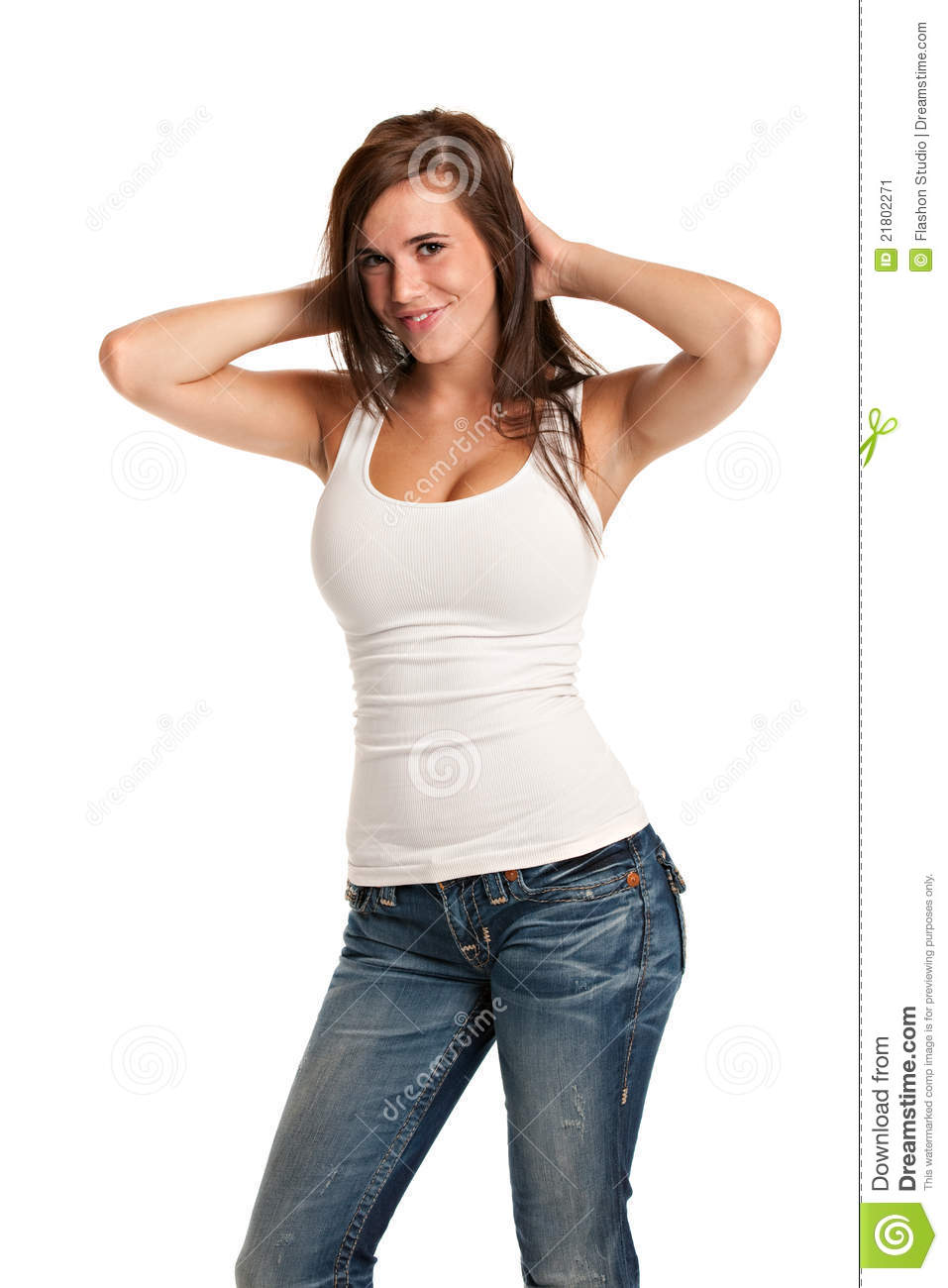 Happy Casual Dressed Young Female Highschool Student Isolated on White ...