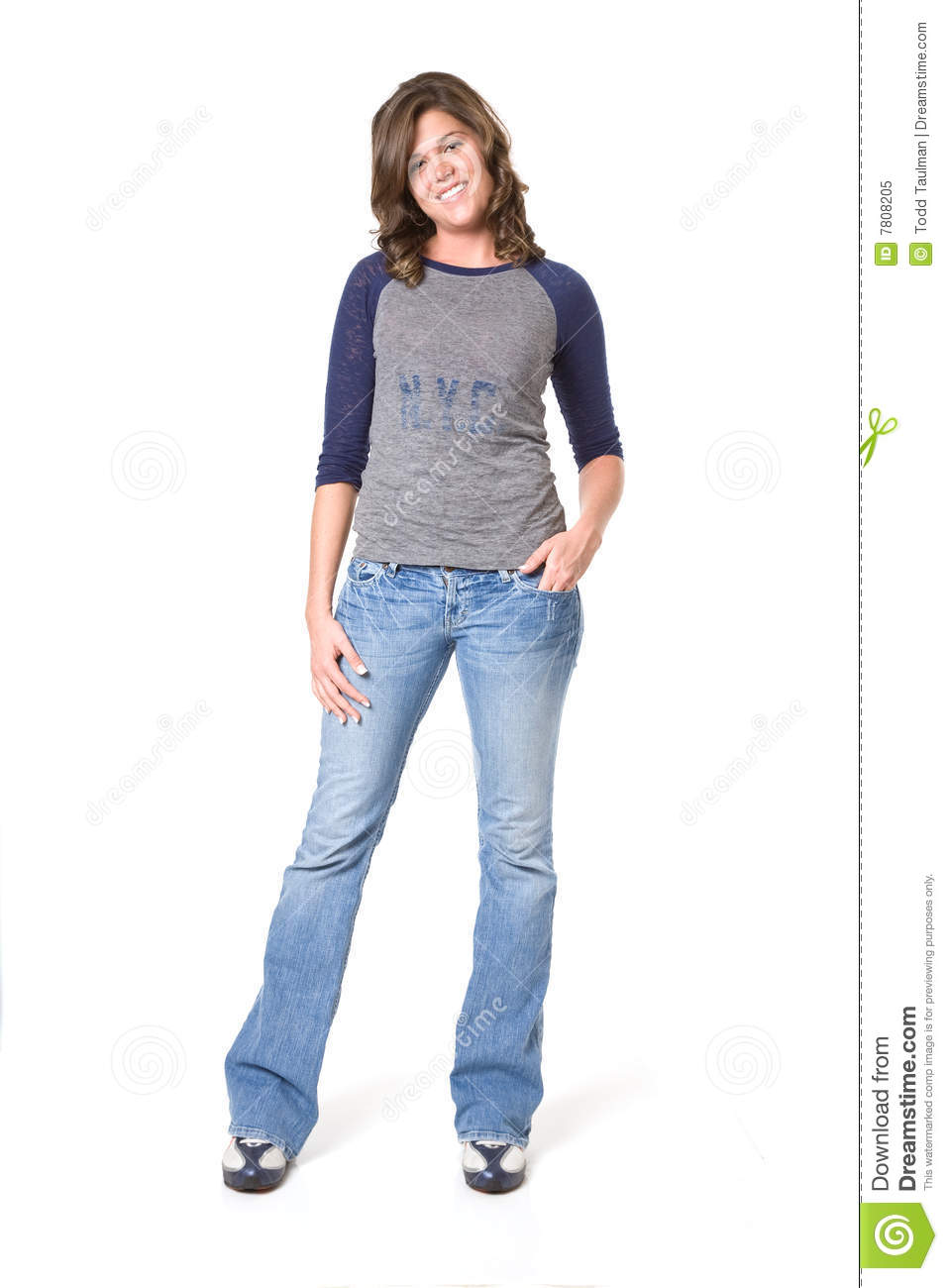 Casual Female In Jeans And T-shirt Royalty Free Stock Photo - Image 7808205