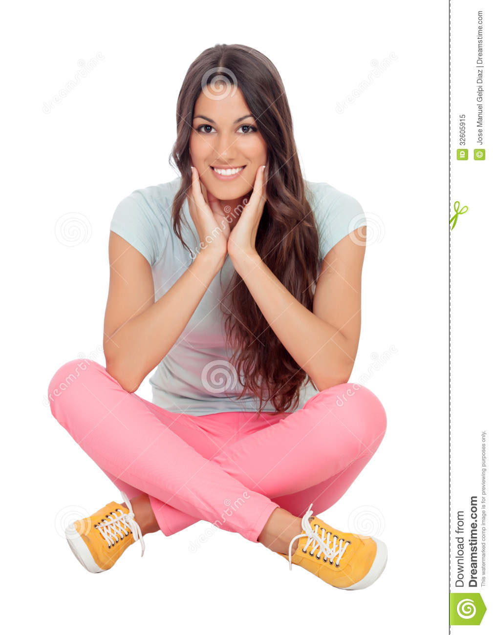 casual girl sitting on the floor royalty free stock photo image 32605915. Black Bedroom Furniture Sets. Home Design Ideas