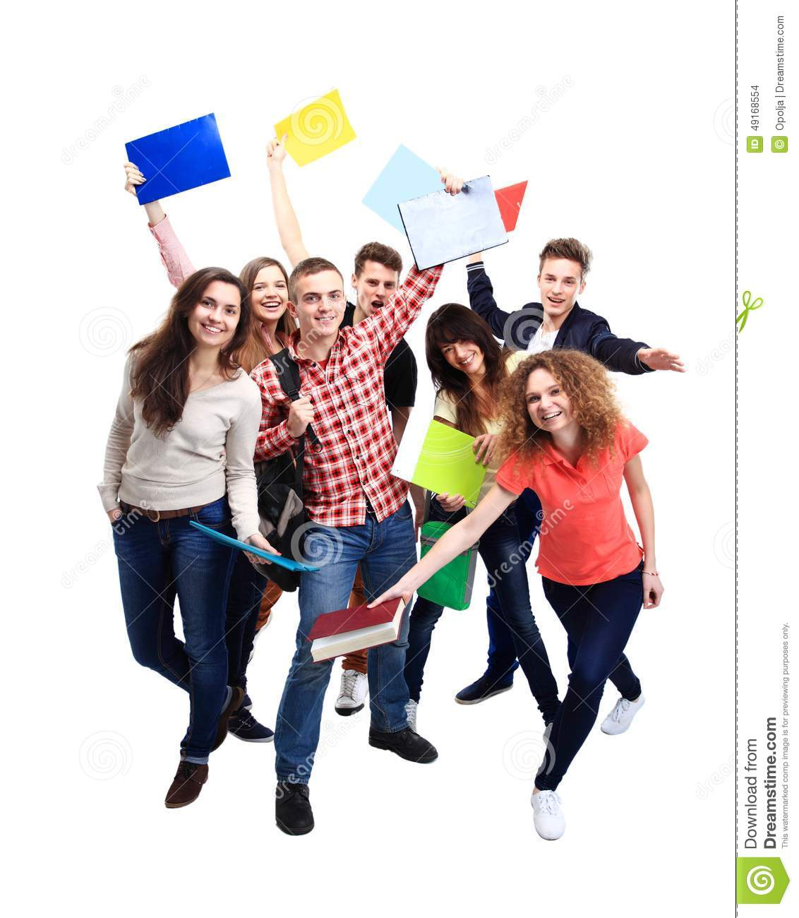 Casual group of excited friends isolated