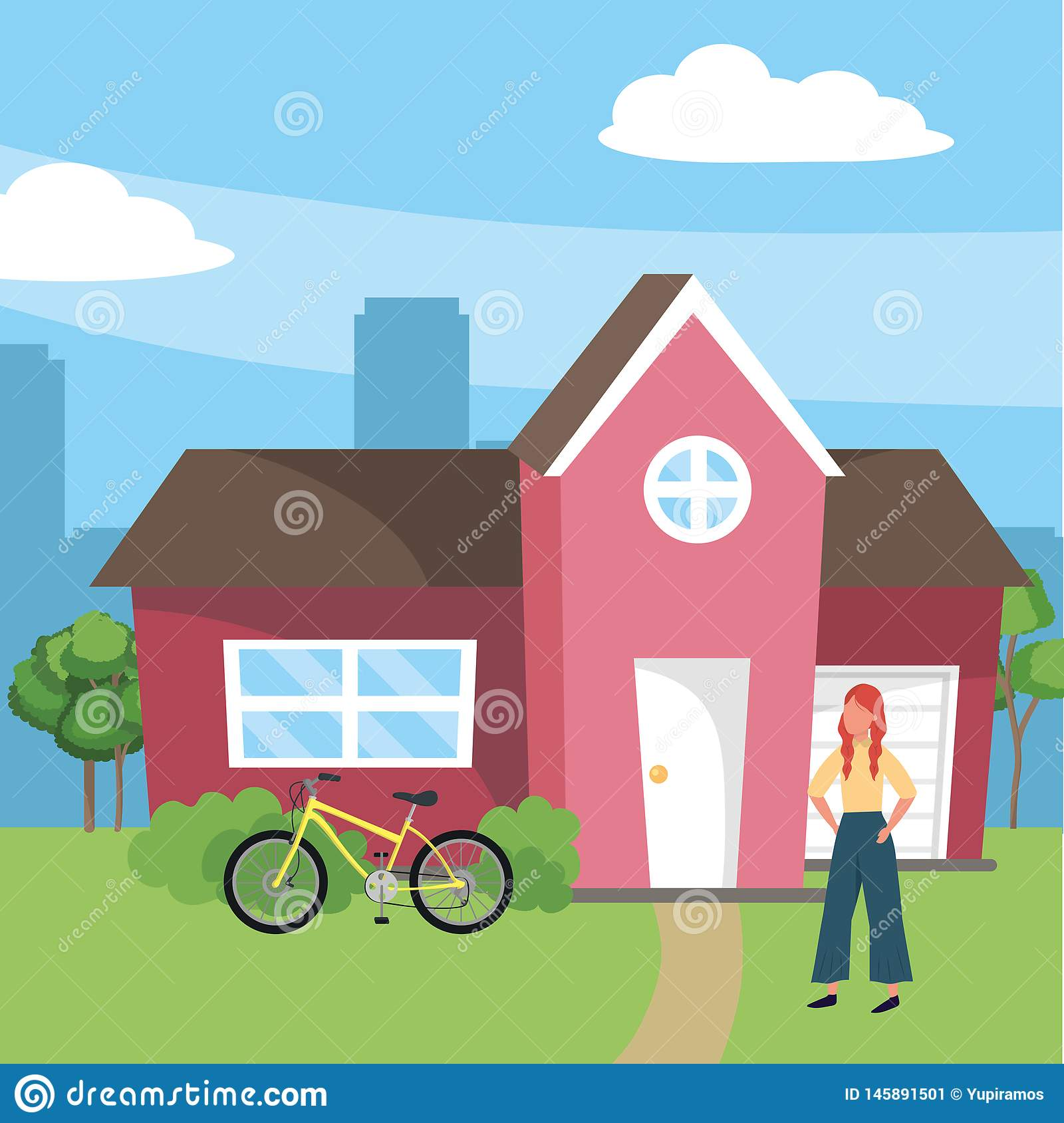 Casual happy people cartoon. Casual happy people woman in front urban house home cartoon vector illustration graphic design stock image