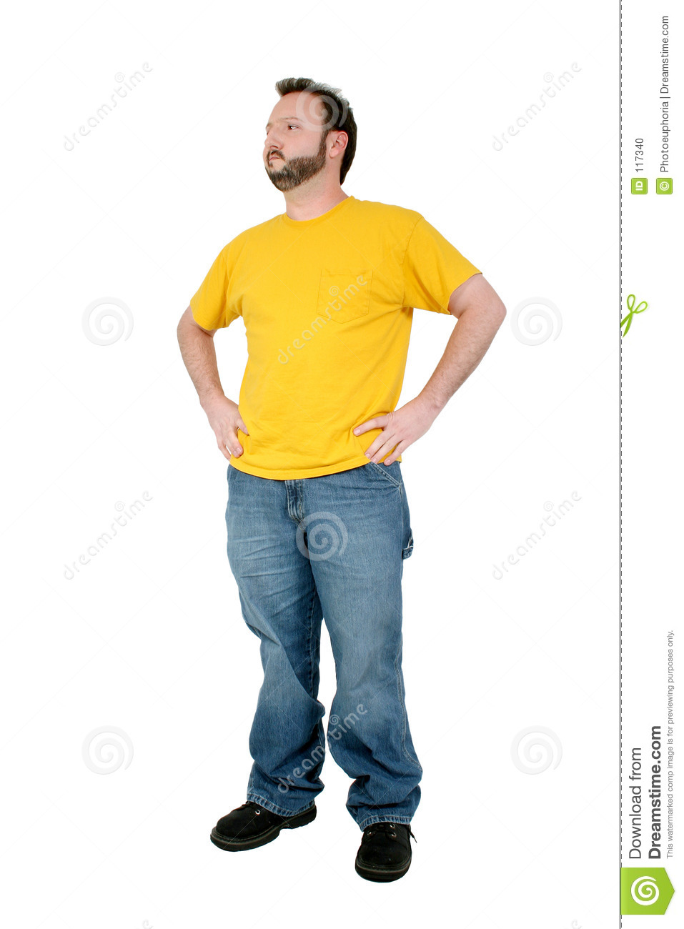 In baggy pants and yellow shirt over white stock photo image 117340