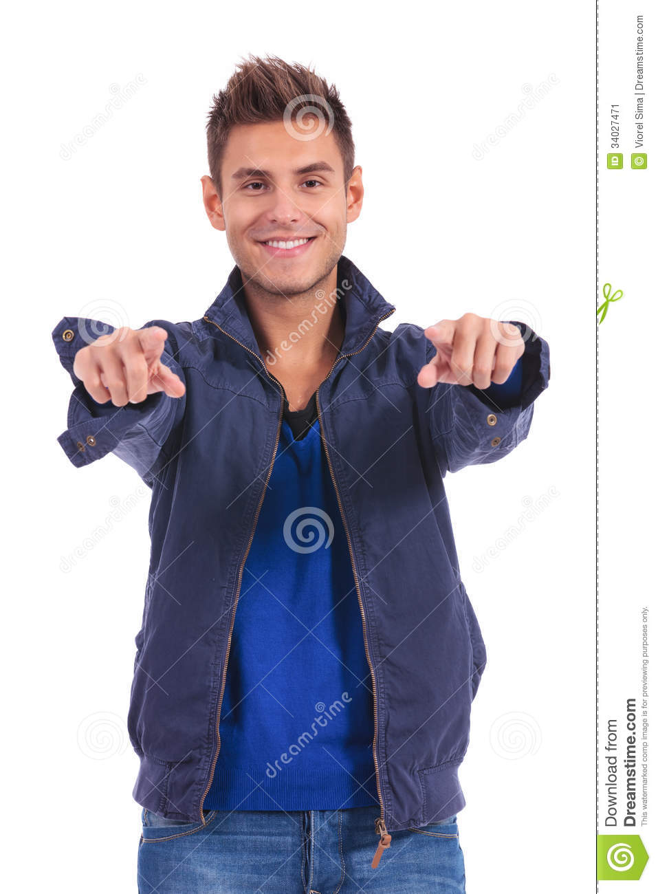 Casual man in jacket pointing his fingers to the camera