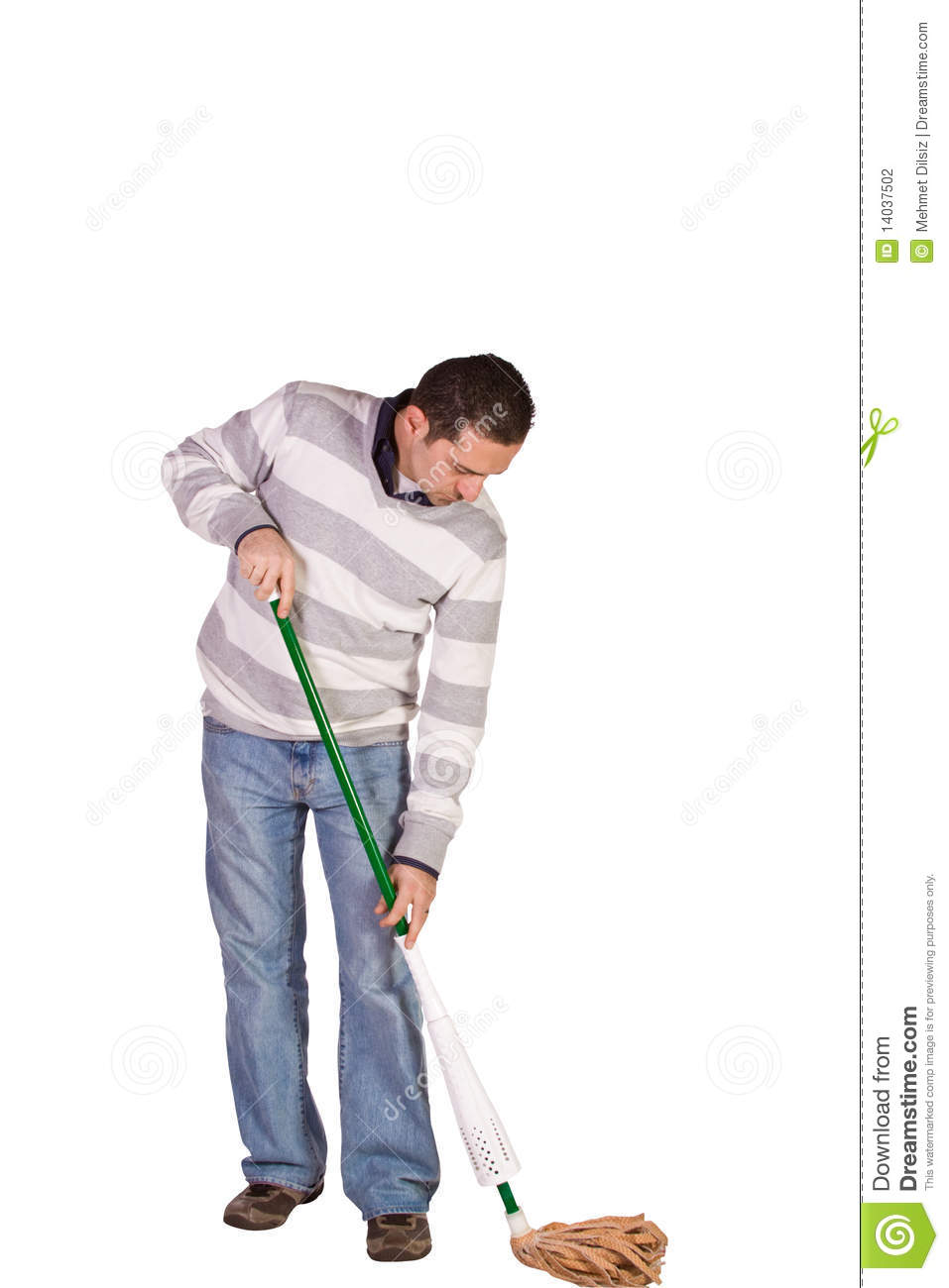 Casual Man Mopping The Floor Stock Photography Image